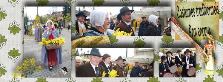 Costumes traditionnels provençaux au corso fleuri de Tanneron pour la fête du mimosa.