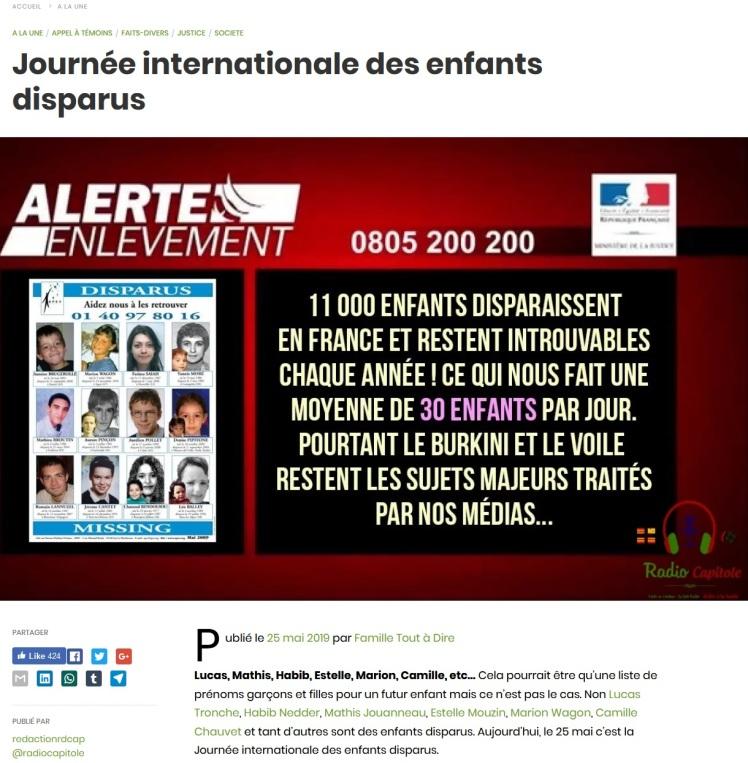 radio capitole Famille Tout à Dire journée internationale des enfants disparus